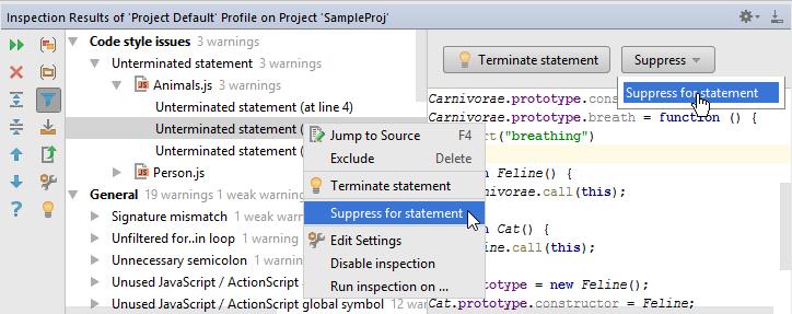 web ide suppress inspection tool window1