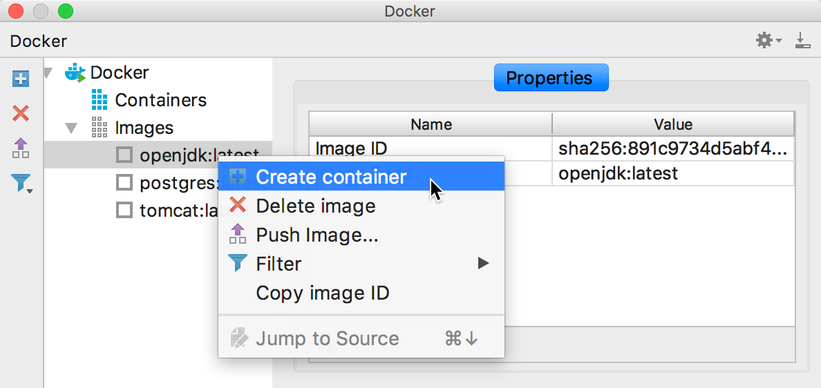 The Create container context menu item