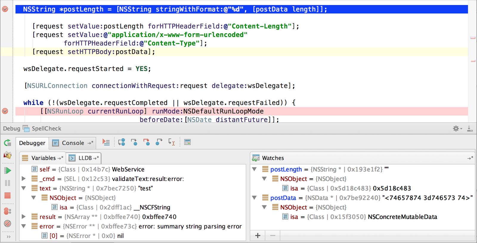 AppCode UsingBreakpoints1