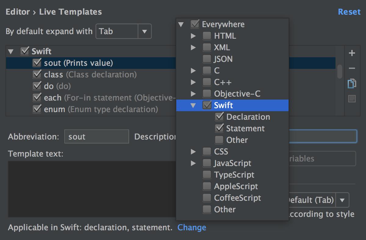 Live Templates - Help | AppCode