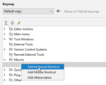 binding keyboard shortcut to macro