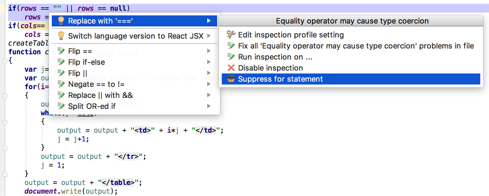 Example: intention action on JavaScript