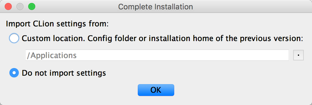 cl complete installation dialog