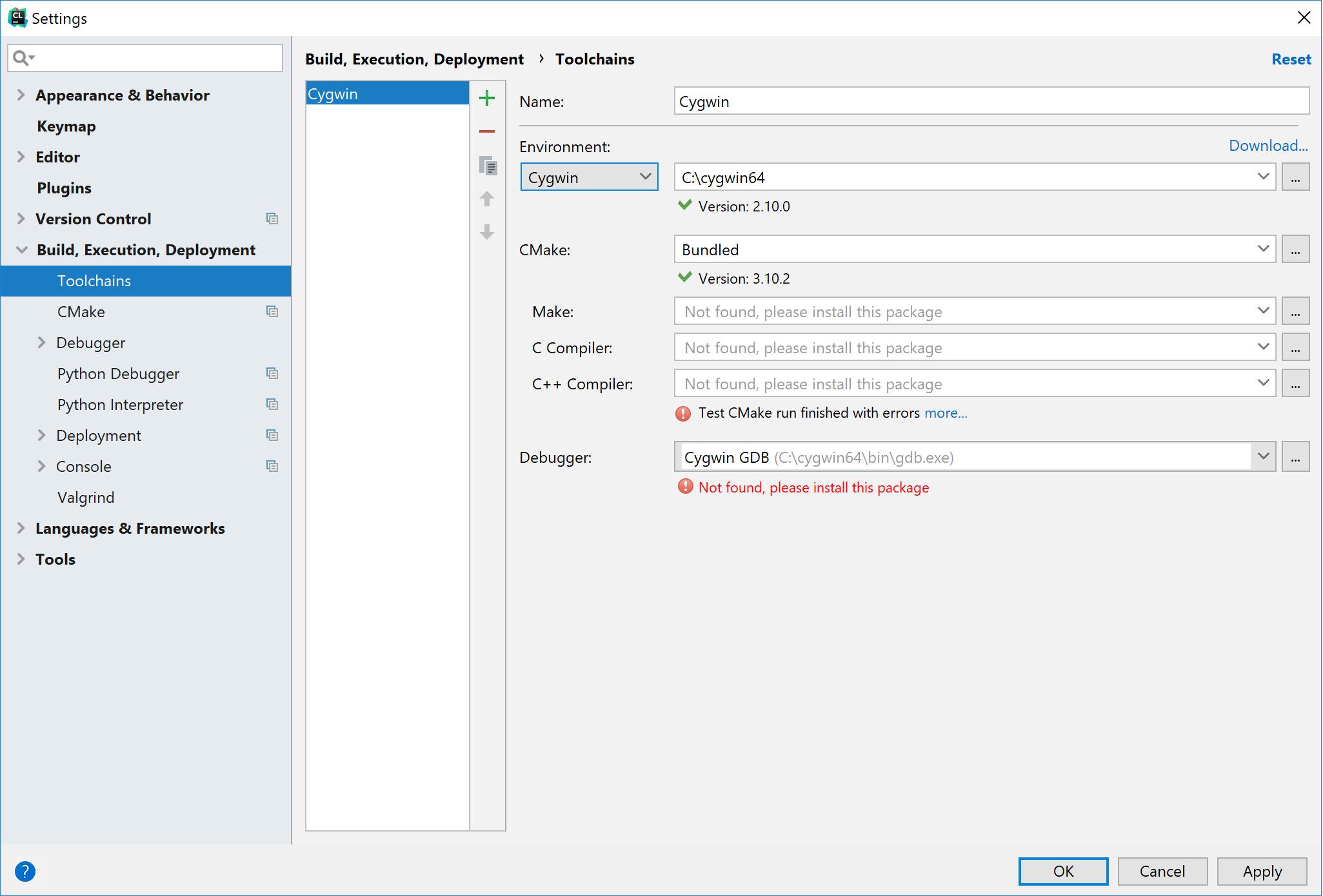 cl configure toolchains fail