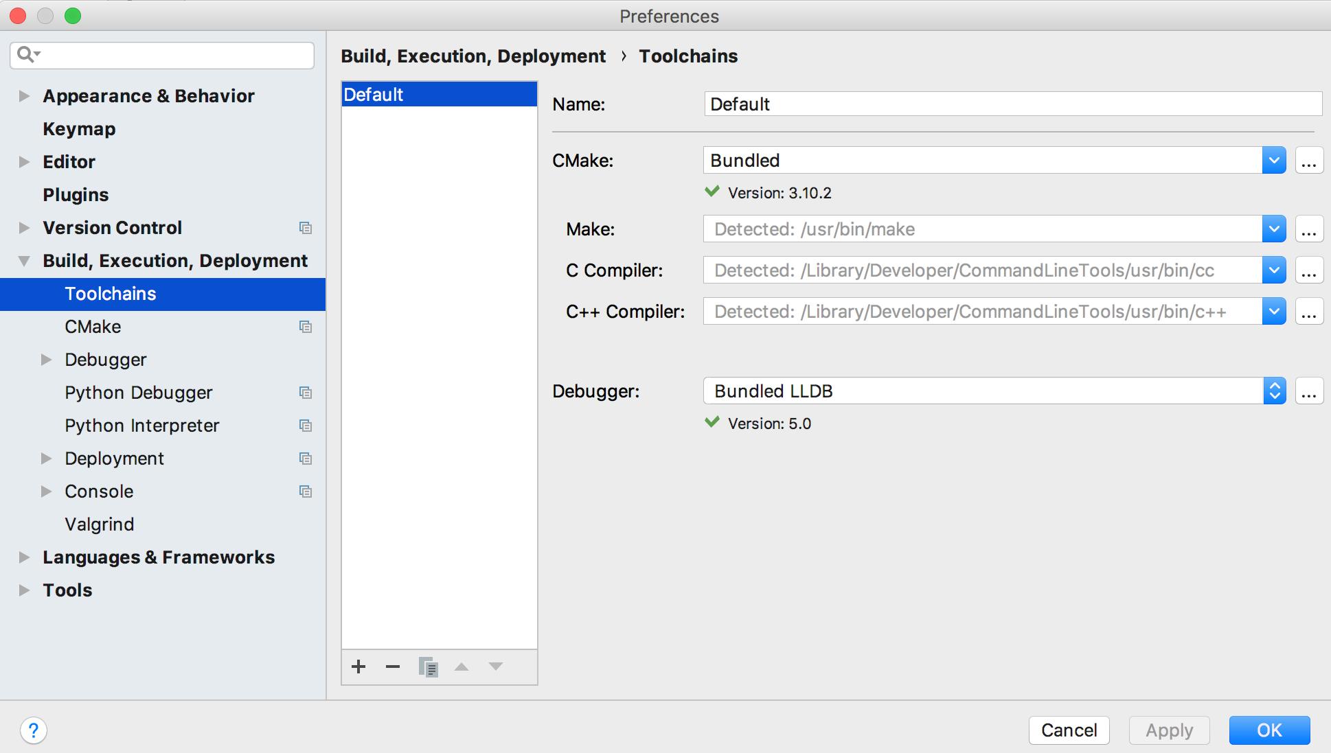 cl configure toolchains mac