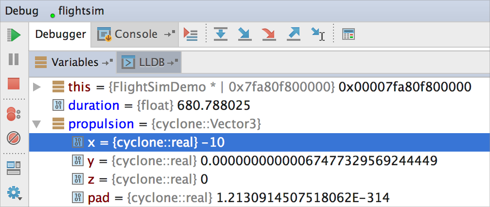 cl debugger variables