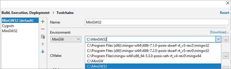 cl toolchainsMinGW64