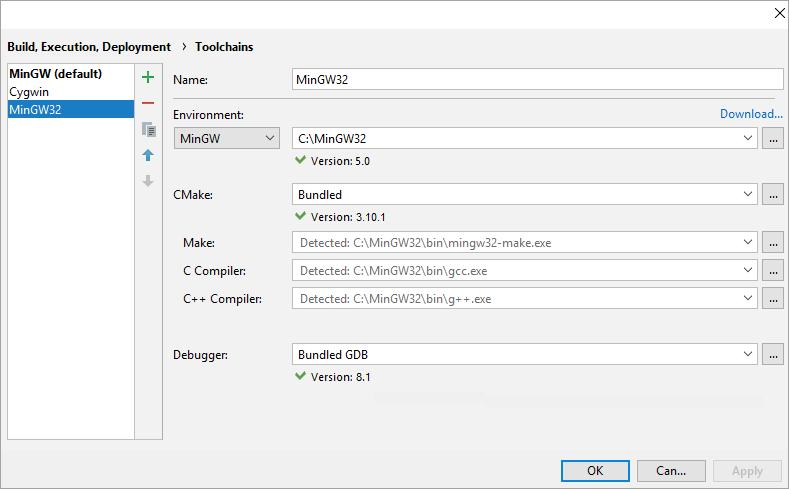 cl toolchainsMinGW64success