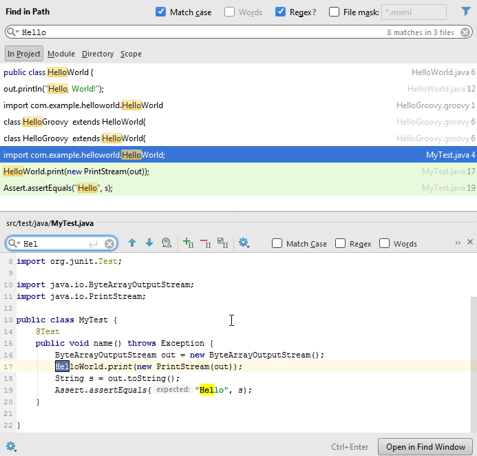 find in path preview editor