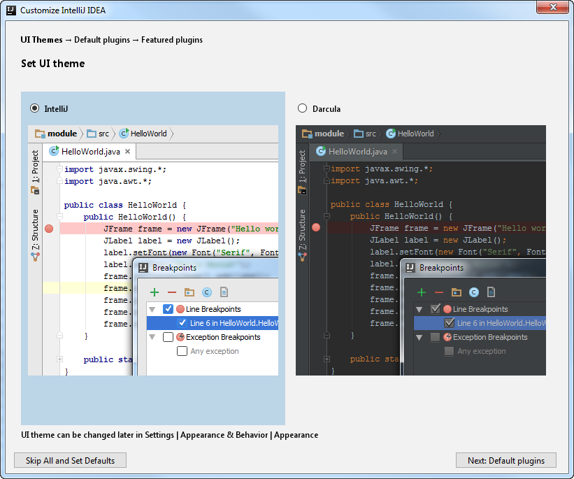 ij set UI theme