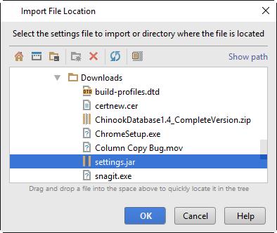 import settings location