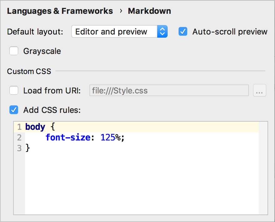 markdown support custom css