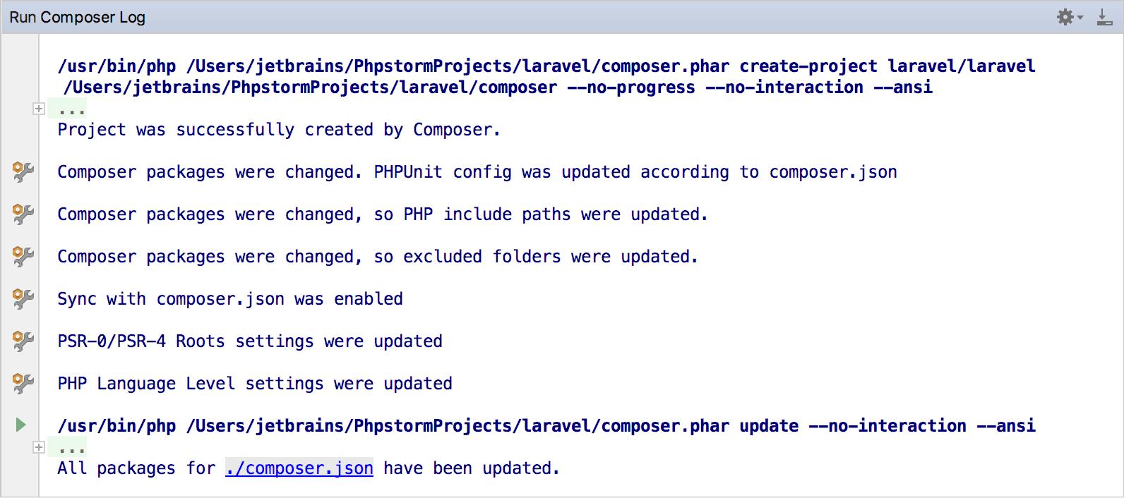 ps composer log panel