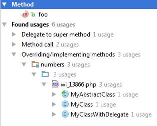 ps find usages with overridden