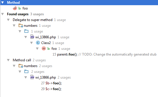 ps find usages without overridden