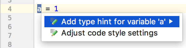 example of adding a type hint for a variable