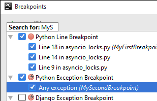 py breakpoint search
