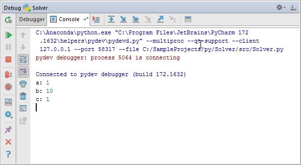 py debugging console