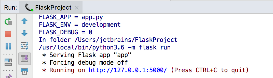 Creating flask project help pycharm you can run the created application by right clicking app and choosing run flask projectapp preview the run results malvernweather Choice Image