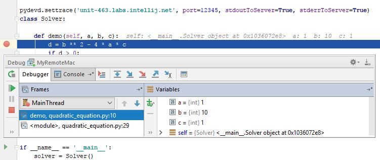 py remote debug result