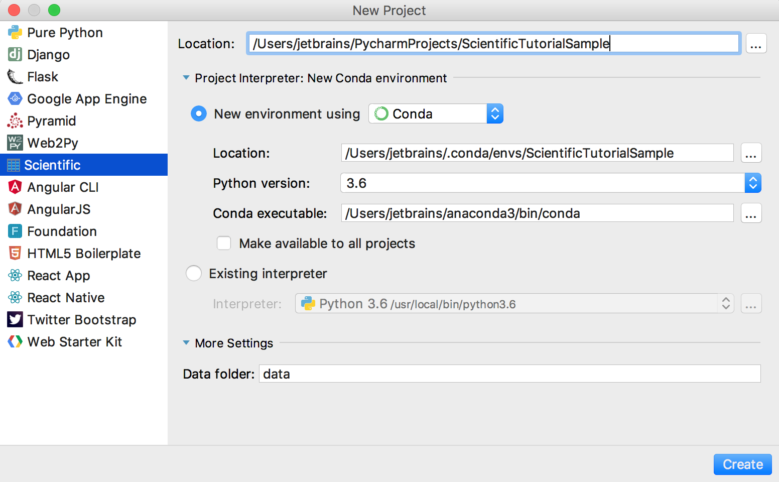 creating a new scientific project in PyCharm