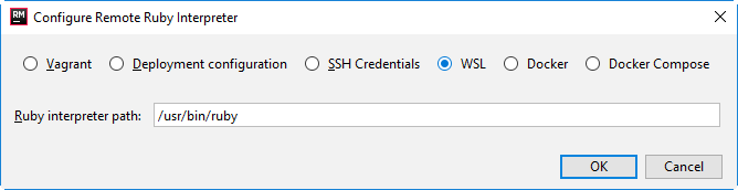 rm configure remote interpreter wsl 1