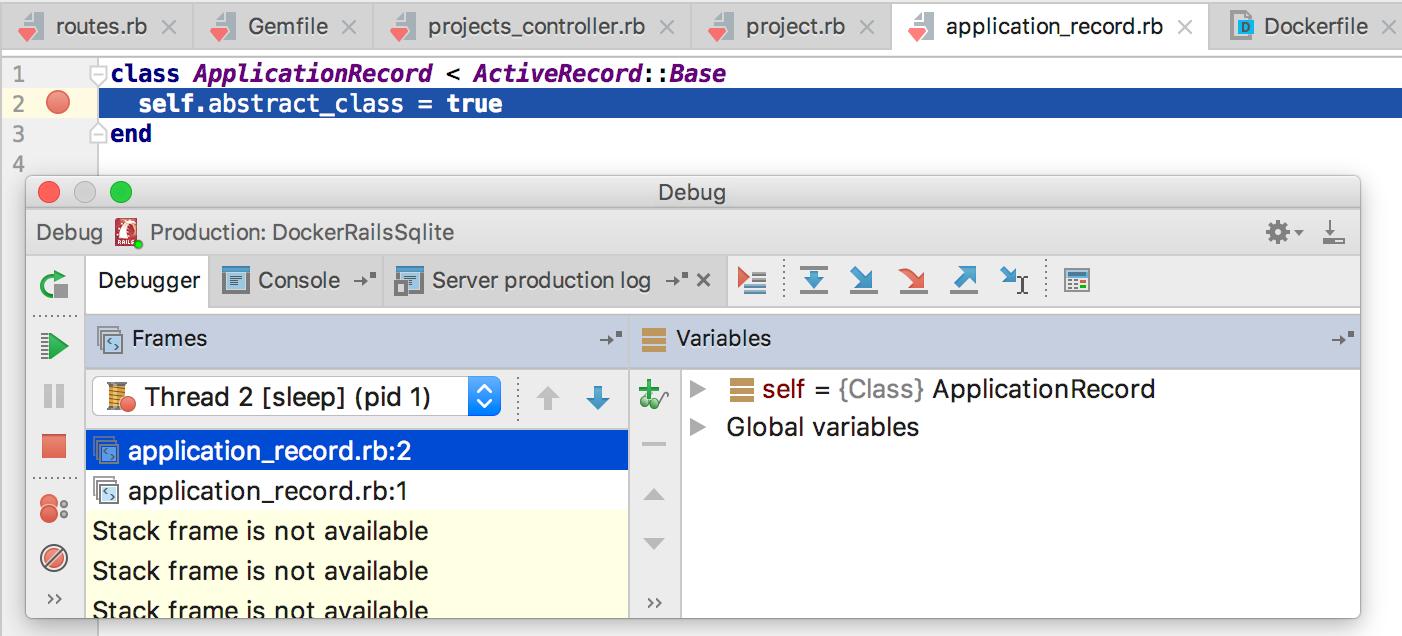 rm docker compose rails app debug