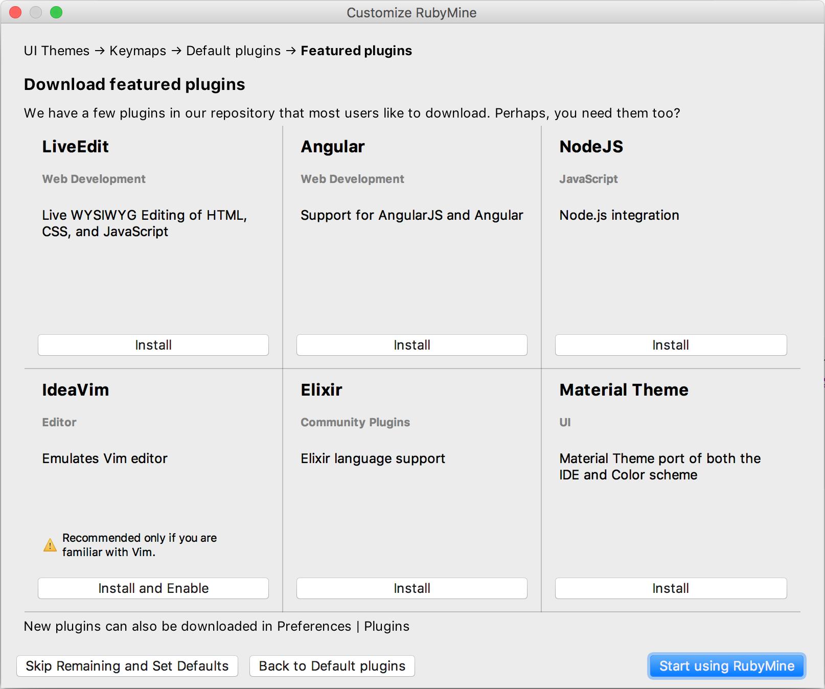 rm installation customizeplugins