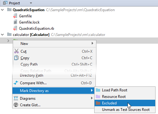 rm mark directory project tool window
