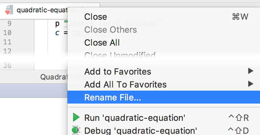rm rename from editor tab