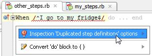 ruby cucumber duplicatedStepDefinition