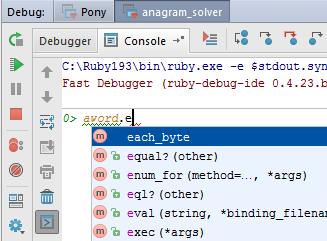 ruby interactive debug console