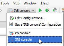 ruby irb console run configuration