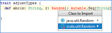 scala class import select