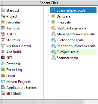 scala recent files