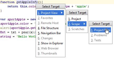 WebStorm: Select Target popup