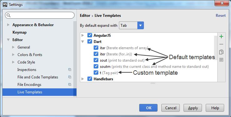 Live templates in WebStorm IDE