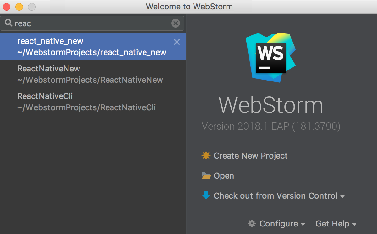 ws welcomeScreenRecentProjects