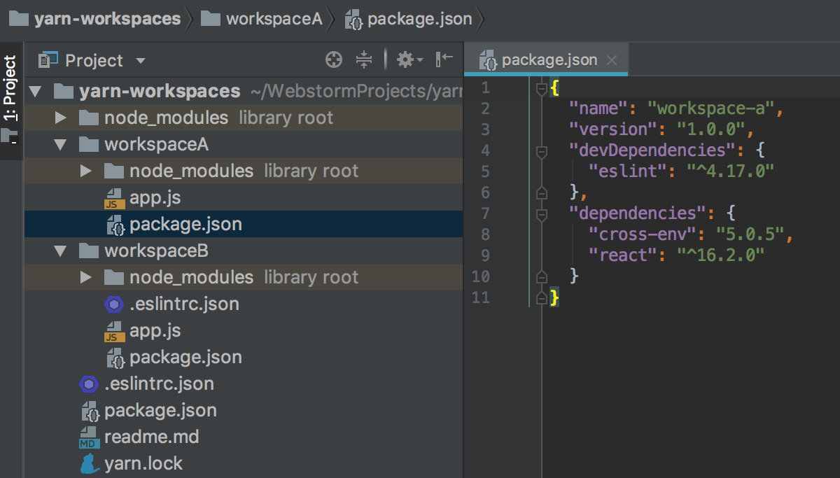AppCode indexes all the dependencies listed in different package.json file but stored in the root node_modules folder