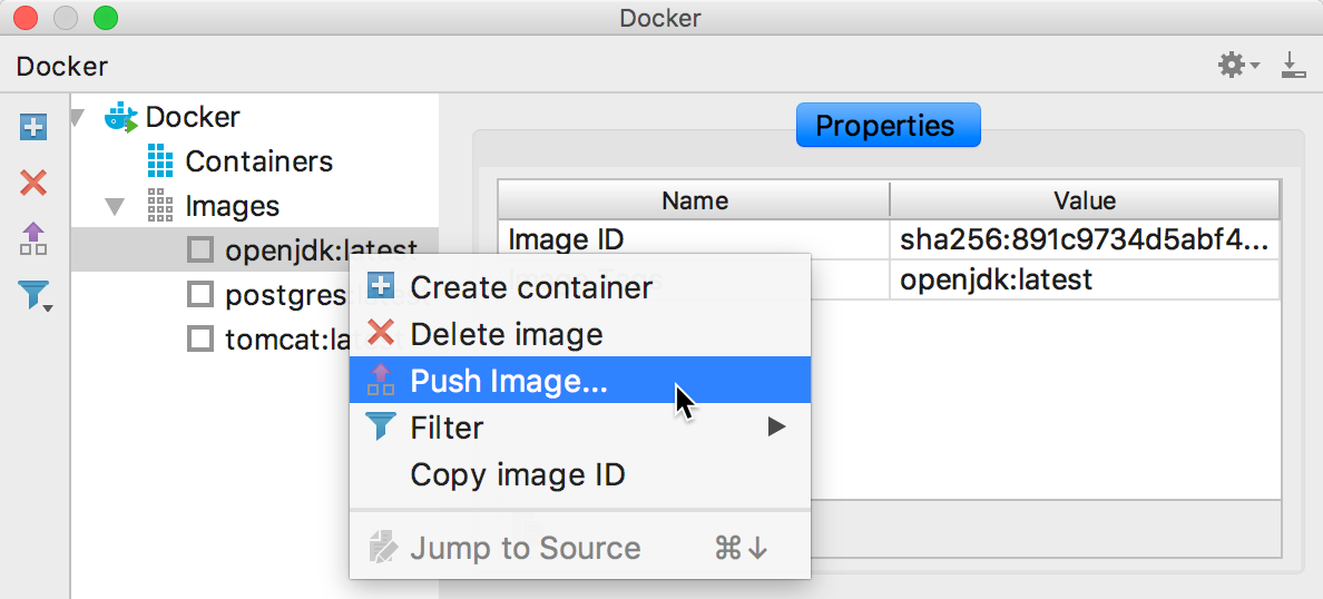 The Push Image context menu item
