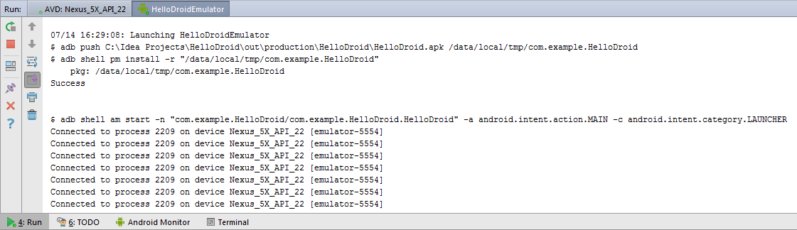 Android upload APK to emulator