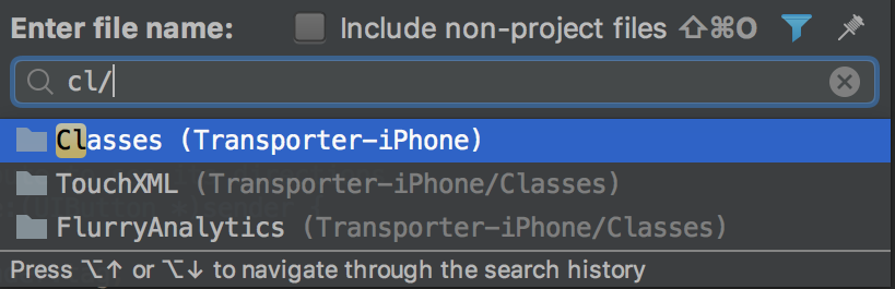 AppCode Navigate to Folder