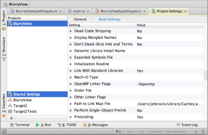 AppCode Targets Project Settings