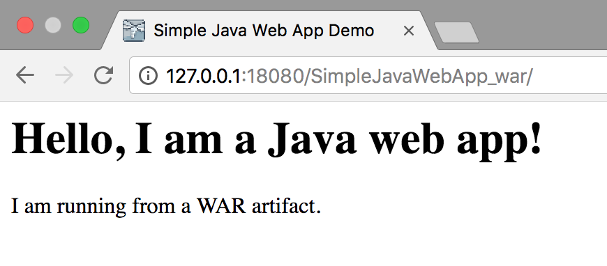 Simple Java Web App Demo page