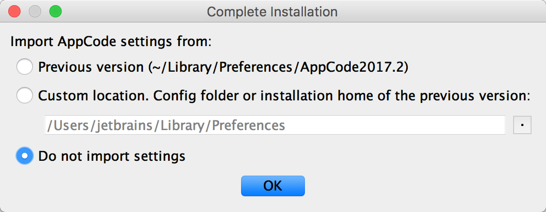 ac complete installation dialog