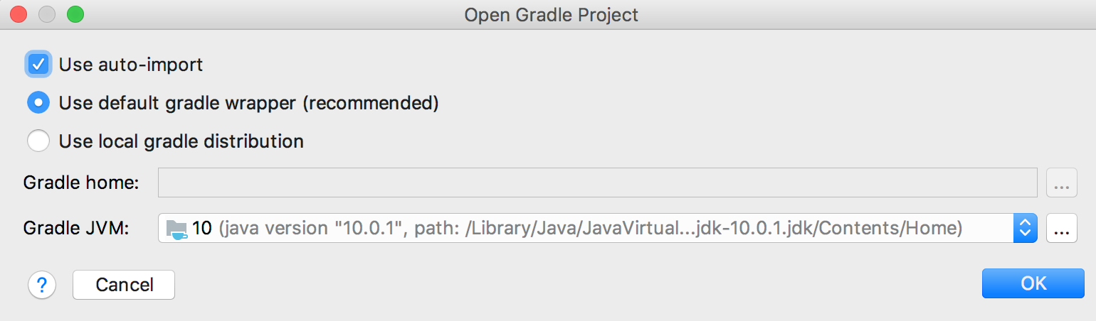 Gradle project initial settings