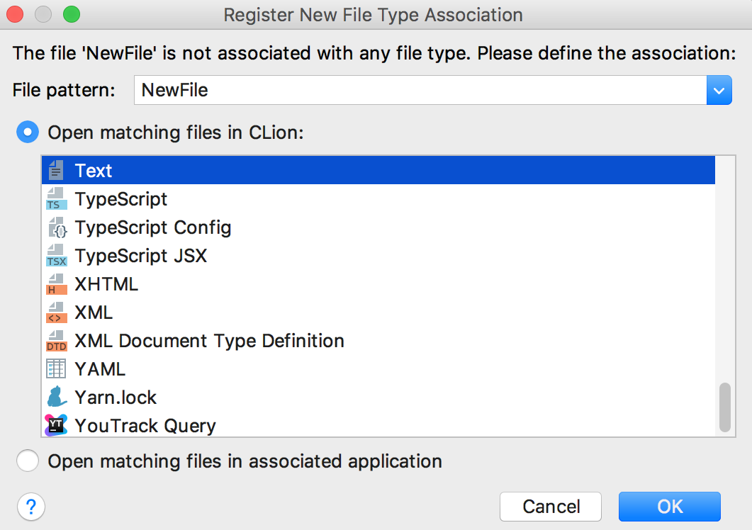 cl register filetype