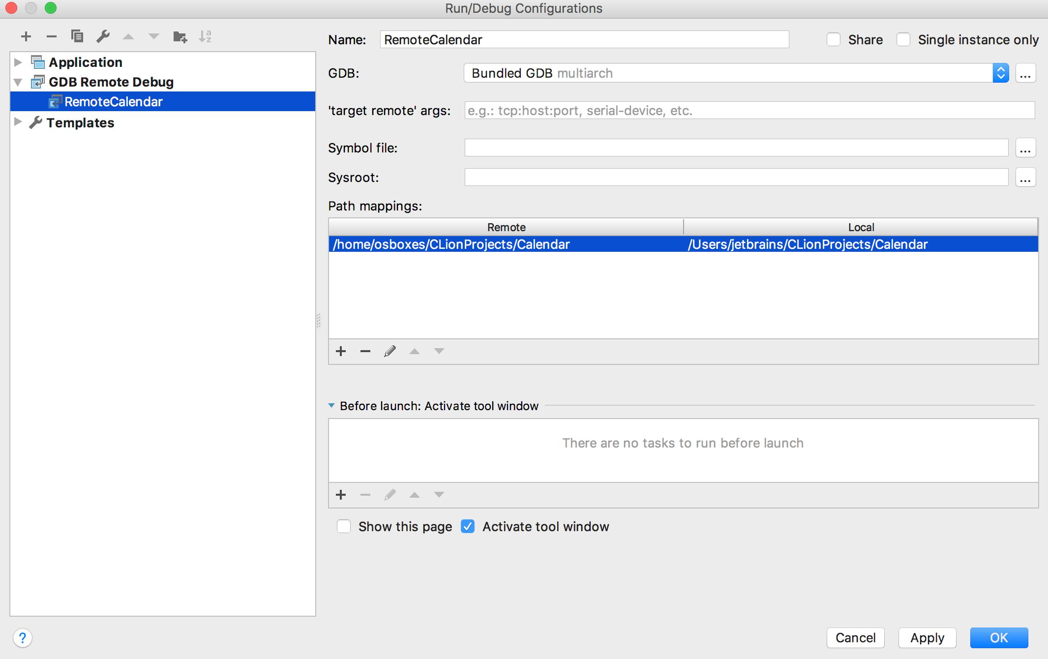Remote Run/Debug Configuration