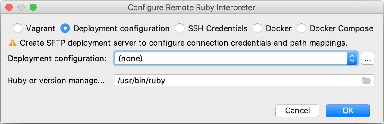 configure remote ruby interpreter dialog