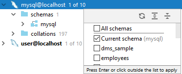 db check scheme dropdown list